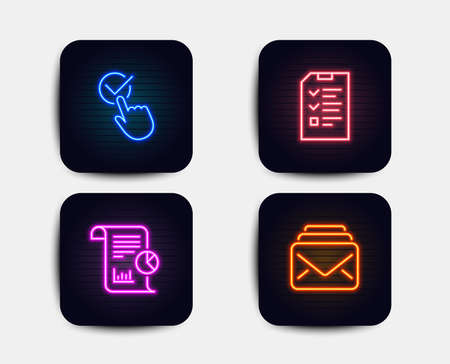 Neon glow lights. Set of Interview, Report and Checkbox icons. Mail sign. Checklist file, Work analysis, Approved. New messages. Neon icons. Glowing light banners. Vector Illustration