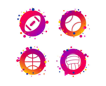 Sport balls icons. Volleyball, Basketball, Baseball and American football signs. Team sport games. Gradient circle buttons with icons. Random dots design. Vector Stock Vector - 111104489