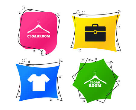Cloakroom icons. Hanger wardrobe signs. T-shirt clothes and baggage symbols. Geometric colorful tags. Banners with flat icons. Trendy design. Vector