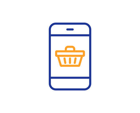Mobile Shopping cart line icon. Smartphone Online buying sign. Supermarket basket symbol. Colorful outline concept. Blue and orange thin line color icon. Smartphone buying Vector