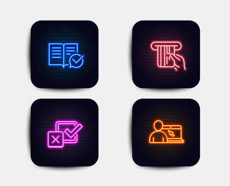 Neon glow lights. Set of Credit card, Checkbox and Approved documentation icons. Online education sign. Atm payment, Survey choice, Instruction book. Internet lectures.  Neon icons. Vector
