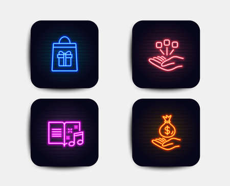 Neon glow lights. Set of Consolidation, Holidays shopping and Music book icons. Income money sign. Strategy, Gifts bag, Musical note. Savings. Neon icons. Glowing light banners. Vector Vectores
