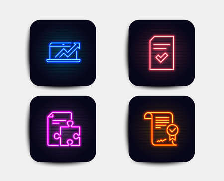 Neon glow lights. Set of Sales diagram, Strategy and Checked file icons. Approved agreement sign. Sale growth chart, Puzzle, Correct document. Verified document.  Neon icons. Glowing light banners