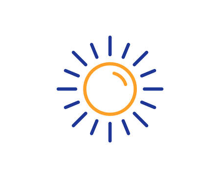 Sun line icon. Hot weather sign. Summer symbol. Colorful outline concept. Blue and orange thin line color icon. Sun Vector