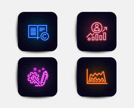 Neon glow lights. Set of Copyright, Career ladder and Engineering icons. Trade chart sign. Copywriting book, Manager results, Construction. Market data. Neon icons. Glowing banners. Copyright vector