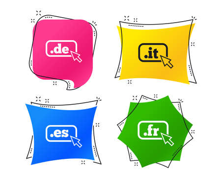 Top-level internet domain icons. De, It, Es and Fr symbols with cursor pointer. Unique national DNS names. Geometric colorful tags. Banners with flat icons. Trendy design. Vector