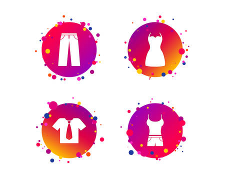 Clothes icons. T-shirt with business tie and pants signs. Women dress symbol. Gradient circle buttons with icons. Random dots design. Vector Stock Illustratie