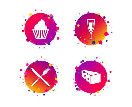 Food icons. Muffin cupcake symbol. Fork and knife sign. Glass of champagne or wine. Slice of cheese. Gradient circle buttons with icons. Random dots design. Food vector Banque d'images - 111104522