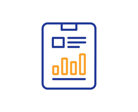 Report document line icon. Analysis Chart or Sales growth sign. Statistics data symbol. Colorful outline concept. Blue and orange thin line color icon. Report document Vector