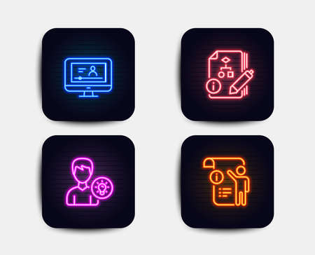 Neon glow lights. Set of Algorithm, Online video and Person idea icons. Manual doc sign. Project, Video exam, Lamp energy. Project info.  Neon icons. Glowing light banners. Vector Illustration