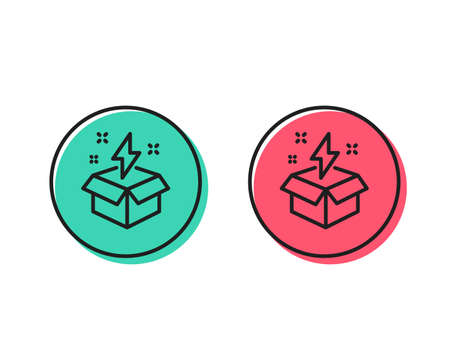 Out of the box line icon. Creativity sign. Gift box with lightning bolt symbol. Positive and negative circle buttons concept. Good or bad symbols. Creative idea Vector