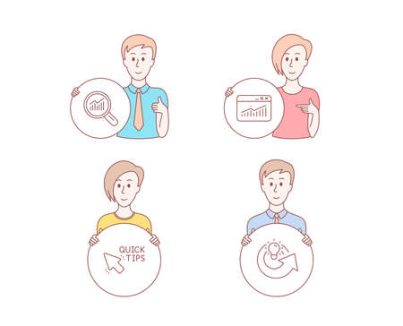 People hand drawn style. Set of Data analysis, Quick tips and Website statistics icons. Share idea sign. Magnifying glass, Helpful tricks, Data analysis. Solution. Character hold circle button