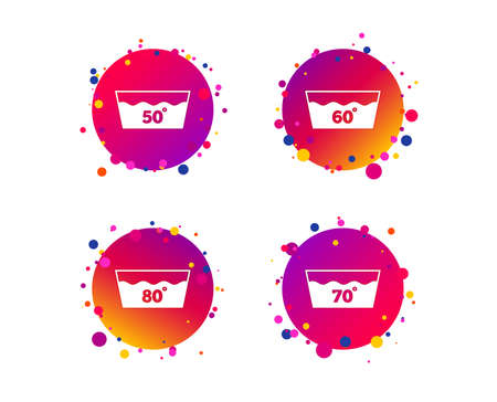 Wash icons. Machine washable at 50, 60, 70 and 80 degrees symbols. Laundry washhouse signs. Gradient circle buttons with icons. Random dots design. Vector
