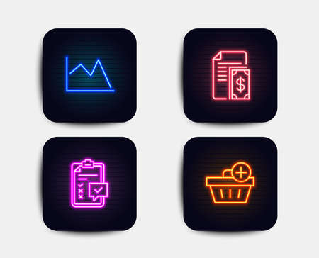 Neon glow lights. Set of Line graph chart, Payment and Checklist icons. Add purchase sign. Financial graph, Cash money, Survey. Shopping order. Neon icons. Glowing light banners. Vector Illustration