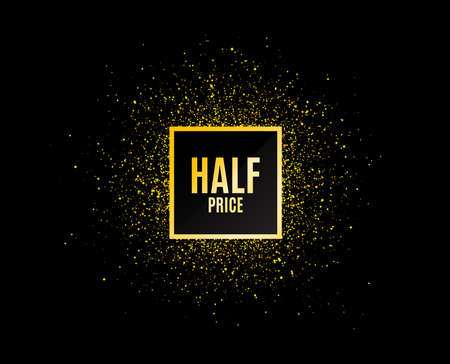 Gold glitter banner. Half Price. Special offer Sale sign. Advertising Discounts symbol. Christmas sales background. Abstract shopping banner tag. Template for design. Vector