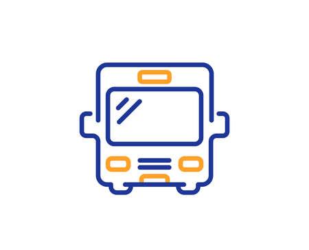 Bus transport line icon. Transportation sign. Tourism or public vehicle symbol. Colorful outline concept. Blue and orange thin line color icon. Bus Vector
