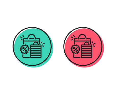 Discount line icon. Sale shopping bags sign. Clearance symbol. Positive and negative circle buttons concept. Good or bad symbols. Shopping bags Vector Stock Illustratie