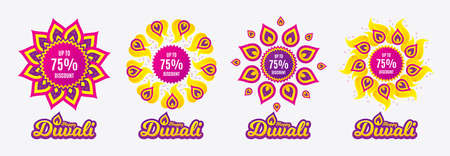 Diwali sales banners. Up to 75% Discount. Sale offer price sign. Special offer symbol. Save 75 percentages. Diwali hindu festival of lights. Shopping tags. Vector