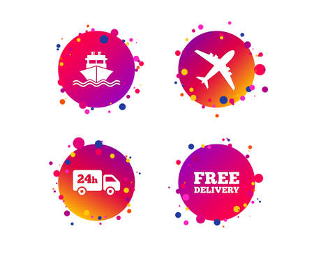 Cargo truck and shipping icons. Shipping and free delivery signs. Transport symbols. 24h service. Gradient circle buttons with icons. Random dots design. Vector