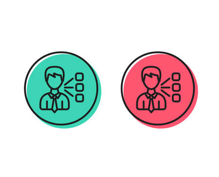 Third party line icon. Team leader sign. Business conversation symbol. Positive and negative circle buttons concept. Good or bad symbols. Third party Vector 일러스트
