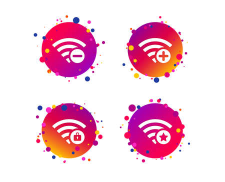 Wifi Wireless Network icons. Wi-fi zone add or remove symbols. Favorite star sign. Password protected Wi-fi. Gradient circle buttons with icons. Random dots design. Vector Illustration