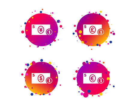 Businessman case icons. Dollar, yen, euro and pound currency sign symbols. Gradient circle buttons with icons. Random dots design. Vector Illustration