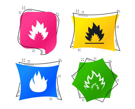 Fire flame icons. Heat symbols. Inflammable signs. Geometric colorful tags. Banners with flat icons. Trendy design. Fire vector Ilustracja