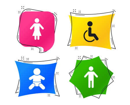 WC toilet icons. Human male or female signs. Baby infant or toddler. Disabled handicapped invalid symbol. Geometric colorful tags. Banners with flat icons. Trendy design. Vector Vectores