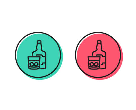 Whiskey glass with ice cubes line icon. Scotch alcohol sign. Positive and negative circle buttons concept. Good or bad symbols. Whiskey glass Vector