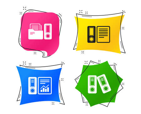 Accounting report icons. Document storage in folders sign symbols. Geometric colorful tags. Banners with flat icons. Trendy design. Vector