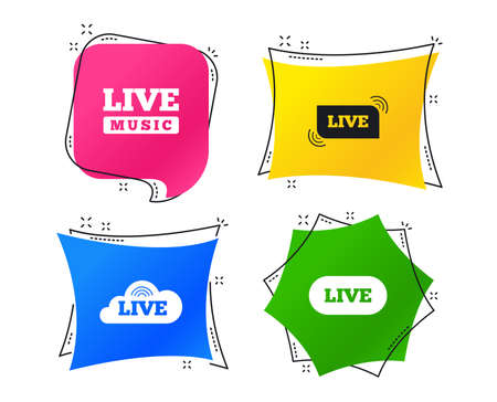 Live music icons. Karaoke or On air stream symbols. Cloud sign. Geometric colorful tags. Banners with flat icons. Trendy design. Vector