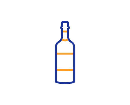 Brandy bottle line icon. Whiskey or Scotch alcohol sign. Colorful outline concept. Blue and orange thin line color icon. Brandy bottle Vector