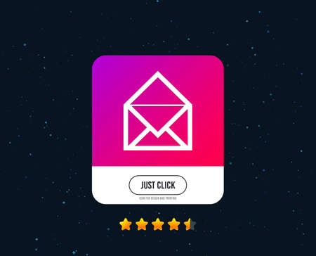 Mail icon. Envelope symbol. Message sign. Mail navigation button. Web or internet icon design. Rating stars. Just click button. Vector