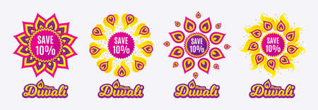 Diwali sales banners. Save 10% off. Sale Discount offer price sign. Special offer symbol. Diwali hindu festival of lights. Shopping tags. Vector