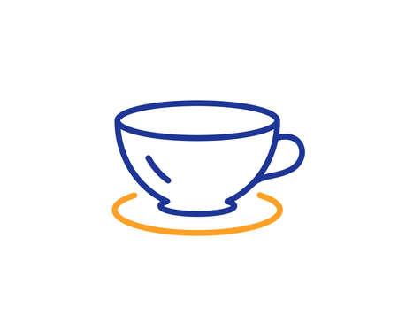 Tea cup line icon. Coffee drink sign. Fresh beverage symbol. Colorful outline concept. Blue and orange thin line color icon. Espresso Vector