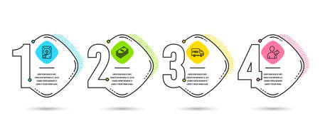 Infographic timeline. Set of Free delivery, Hdd and Dollar icons. Refer friend sign. Shopping truck, Hard disk, Usd currency. Share. Process diagram, workflow. Infographic timeline graph vector. Illustration