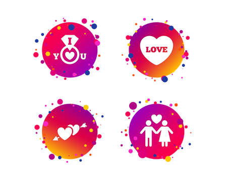 Valentine day love icons. I love you ring symbol. Couple lovers sign. Gradient circle buttons with icons. Random dots design. Vector Illustration