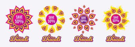 Diwali sales banners. Save 50% off. Sale Discount offer price sign. Special offer symbol. Diwali hindu festival of lights. Shopping tags. Vector Illustration