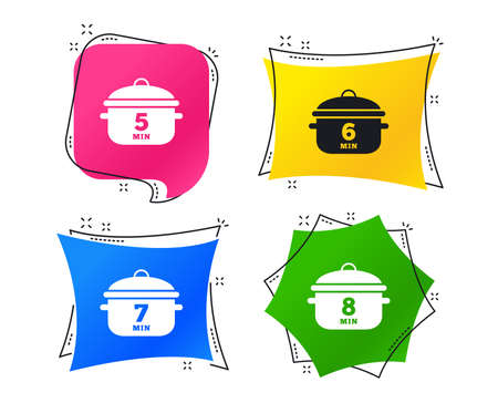 Cooking pan icons. Boil 5, 6, 7 and 8 minutes signs. Stew food symbol. Geometric colorful tags. Banners with flat icons. Trendy design. Vector