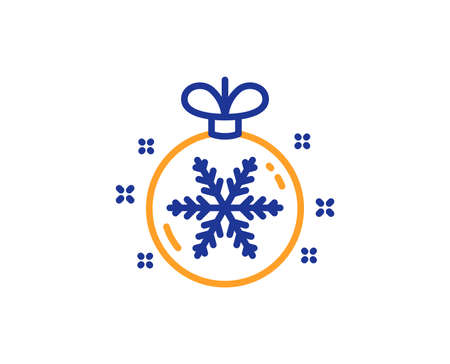 Christmas ball with snowflake line icon. New year tree decoration sign. Colorful outline concept. Blue and orange thin line color icon. Christmas ball Vector 스톡 콘텐츠 - 110967749