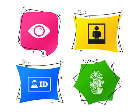 Identity ID card badge icons. Eye and fingerprint symbols. Authentication signs. Photo frame with human person. Geometric colorful tags. Banners with flat icons. Trendy design. Vector