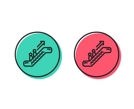 Escalator line icon. Elevator sign. Shopping stairway symbol. Positive and negative circle buttons concept. Good or bad symbols. Escalator Vector Illustration