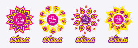 Diwali sales banners. Up to 70% Discount. Sale offer price sign. Special offer symbol. Save 70 percentages. Diwali hindu festival of lights. Shopping tags. Vector Standard-Bild - 111104633