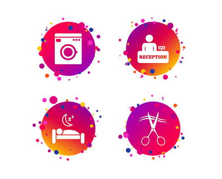 Hotel services icons. Washing machine or laundry sign. Hairdresser or barbershop symbol. Reception registration table. Quiet sleep. Gradient circle buttons with icons. Random dots design. Vector Stock Illustratie