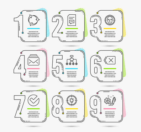 Infographic template with numbers 9 options. Set of Idea, Mail and Comments icons. Face detect, Restructuring and Remove signs. Recycle, Verify and Engineering symbols. Vector Illustration