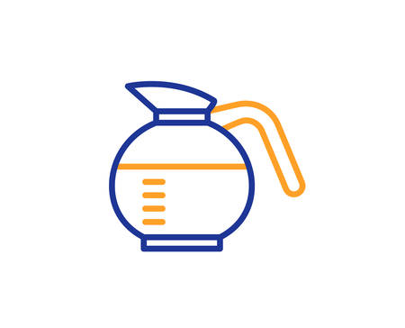 Coffeepot line icon. Coffee Hot drink sign. Brewed fresh beverage symbol. Colorful outline concept. Blue and orange thin line color icon. Coffeepot Vector