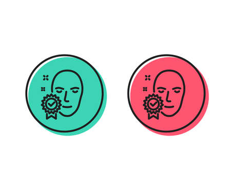 Face verified line icon. Access granted sign. Facial identification success symbol. Positive and negative circle buttons concept. Good or bad symbols. Face verified Vector