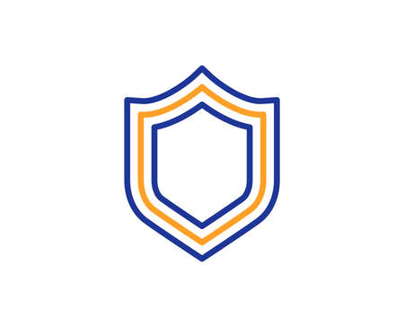 Shield line icon. Protection or Security sign. Defence or Guard symbol. Colorful outline concept. Blue and orange thin line color icon. Security Vector Иллюстрация