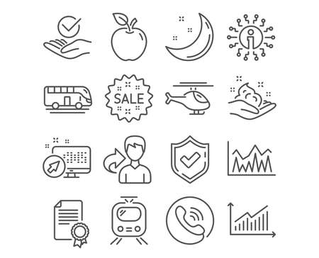 Set of Investment, Bus tour and Certificate icons. Graph, Approved and Skin care signs. Helicopter, Train and Sale symbols. Economic statistics, Transport, Diploma certificate. Vector Illustration