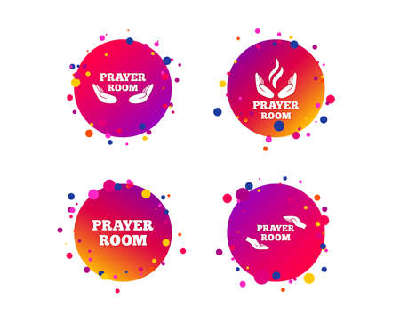 Prayer room icons. Religion priest faith symbols. Pray with hands. Gradient circle buttons with icons. Random dots design. Vector